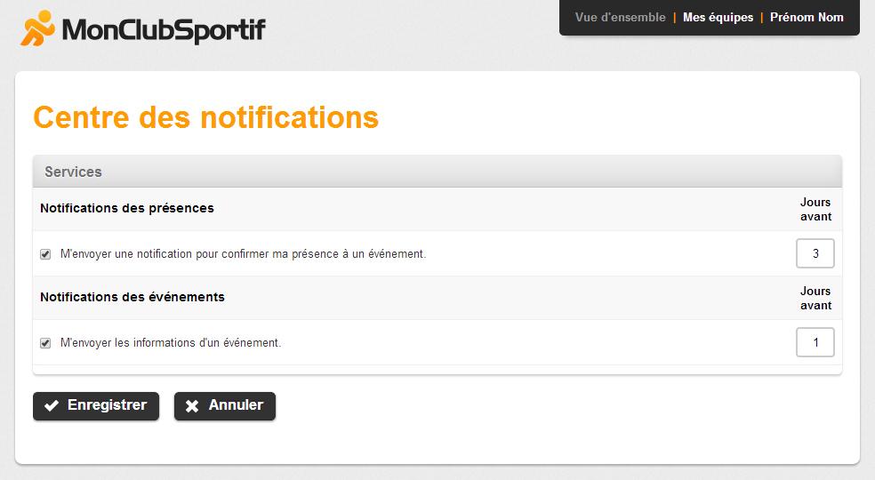 Page Centre des notifications du compte de l'utilisateur