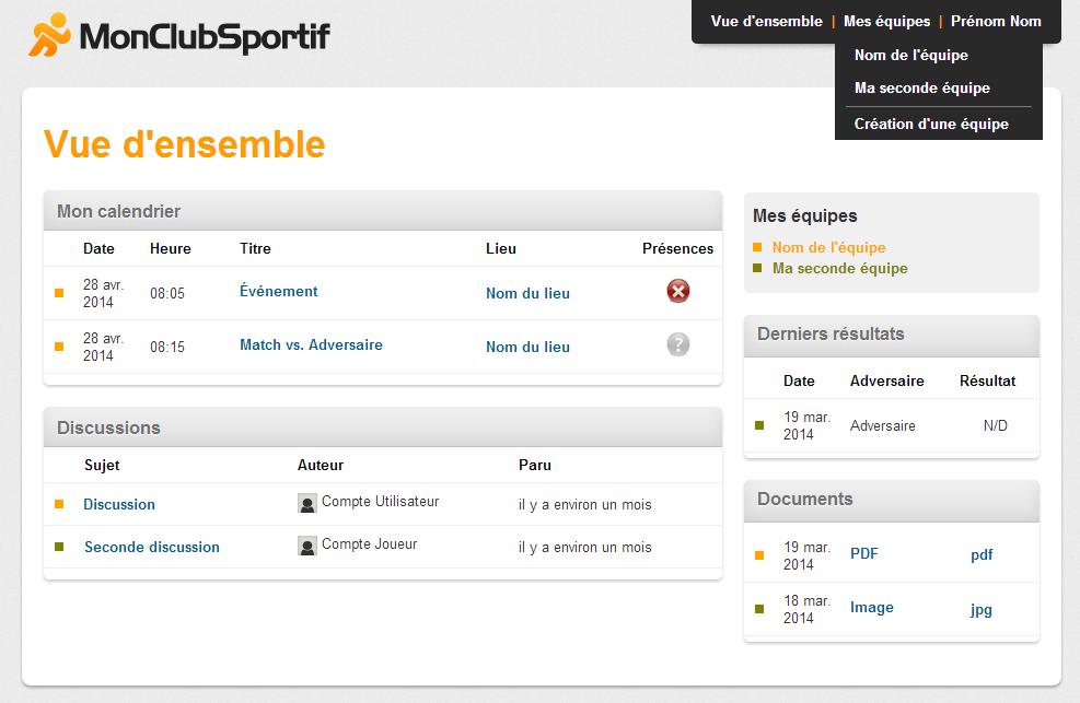 Page Vue d'ensemble de plusieurs équipes ayant le menu du choix d'équipe déployé