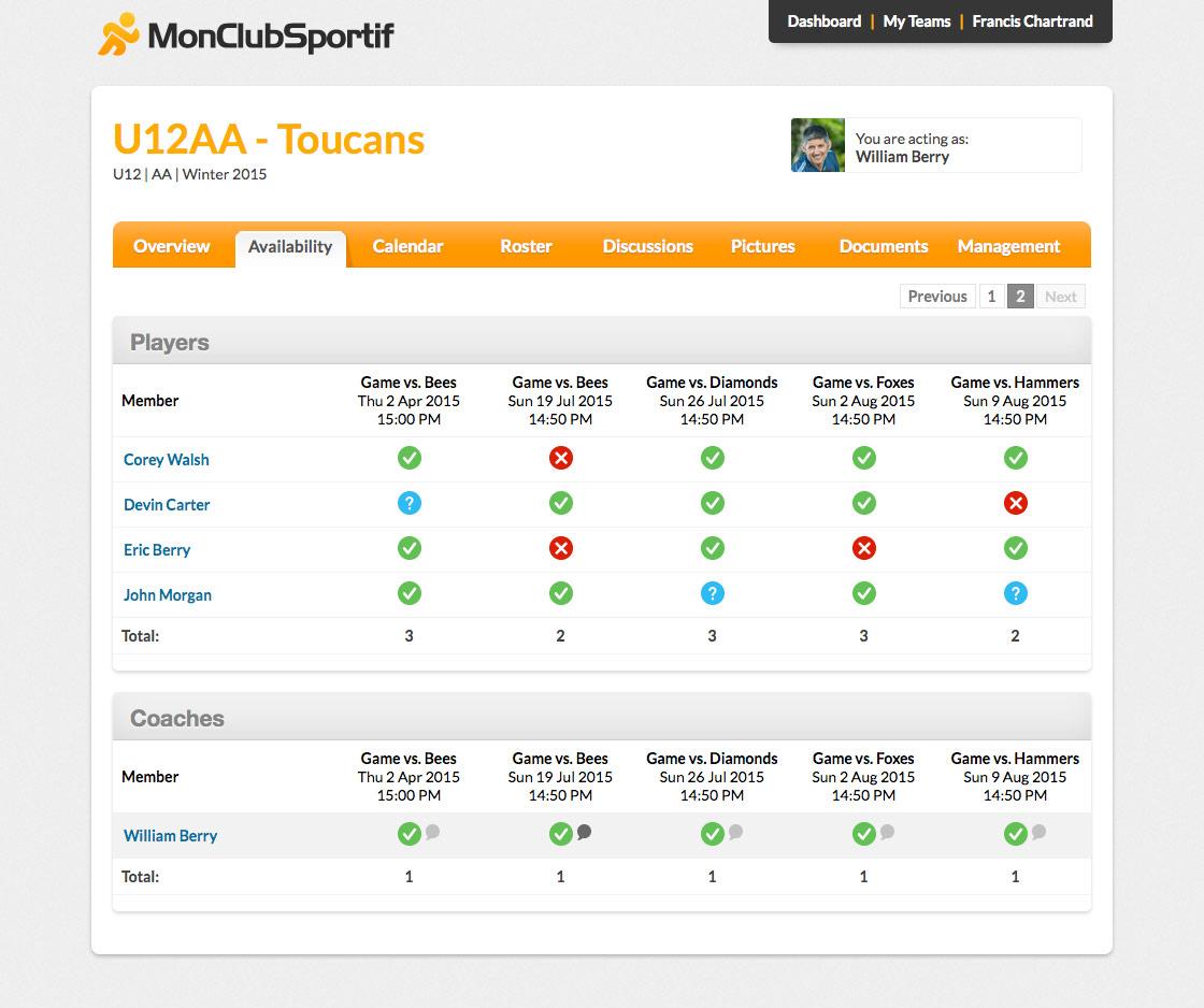 Sport team management availibility match games