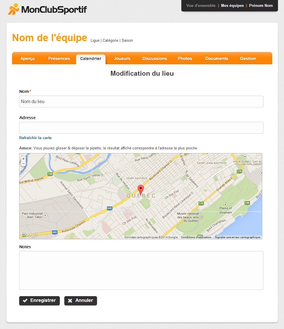 Page de modification d'un lieu