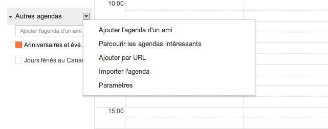 Google calendrier - Ajouter un url
