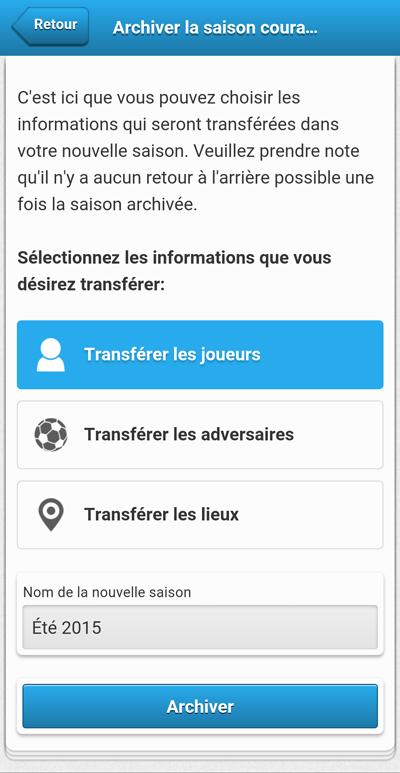Sélection des informations à conserver - mobile