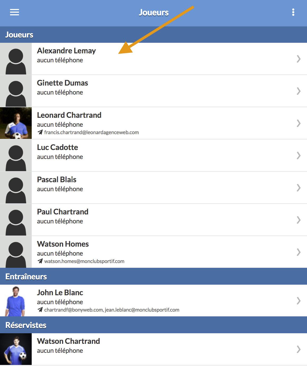 mobile partager acces compte liste joueur joueur