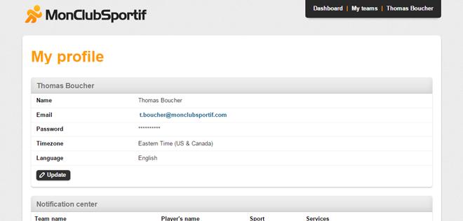Version bureau - Page profil en anglais