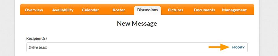 Desktop version - Modify discussion recipients