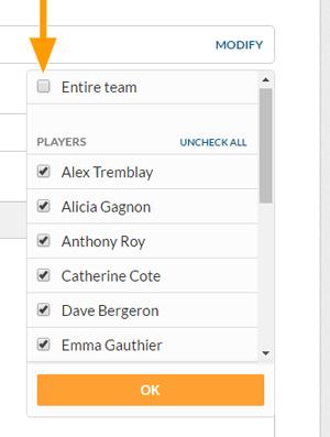 Desktop version - Select recipients