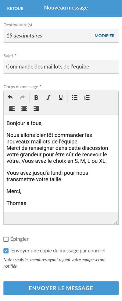 Version mobile -  Nouveau message
