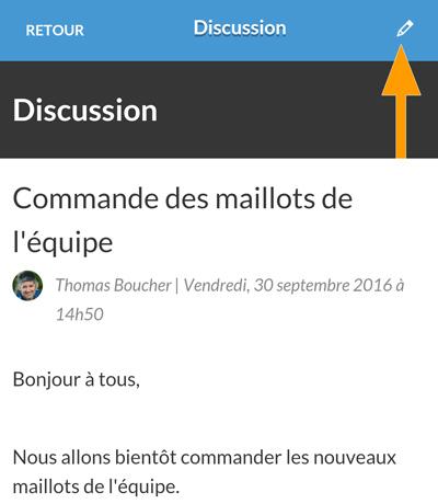 Version mobile - Modification de la discussion