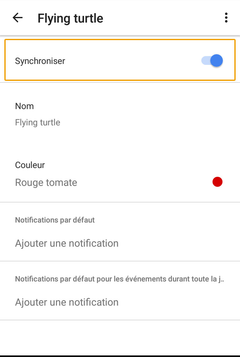 android calendrier activer synschonisation equipe sportive
