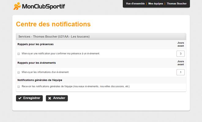 Version bureau - Centre des notifications