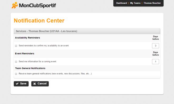 Desktop version - Notification center