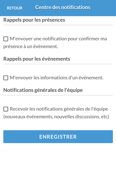 Version mobile - Centre des notifications