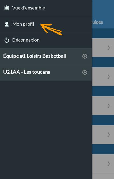 Version mobile - Menu Accès profil