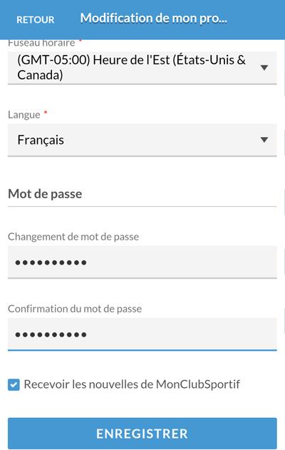 Version mobile - Changement du mot de passe