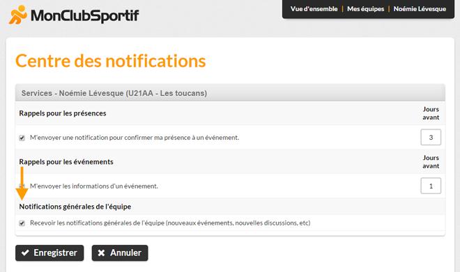Version bureau - Activer les notifications générales de l'équipe