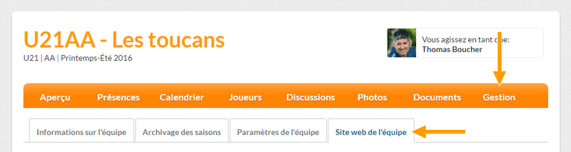 Version bureau - Acces à la gestion du site web de l'équipe