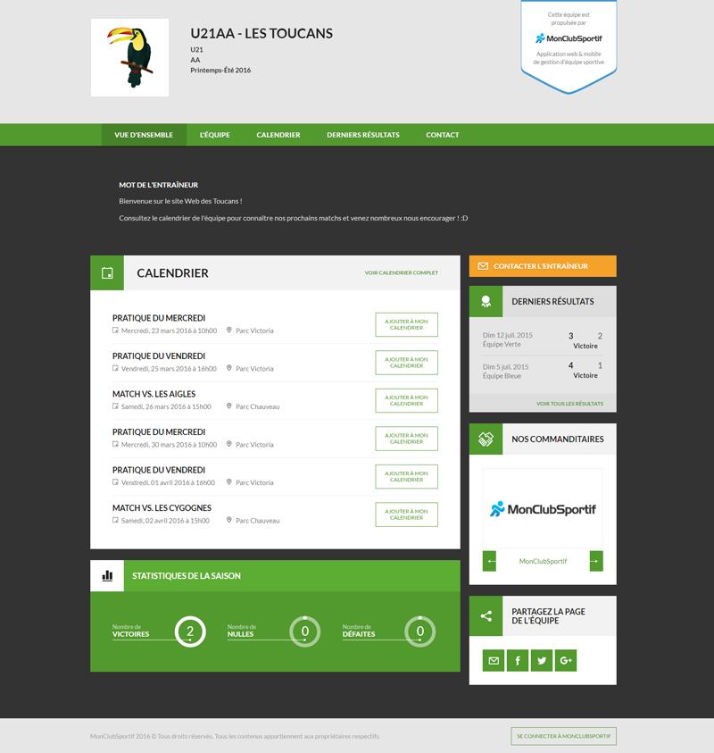 Version bureau - Aperçu du site Web de l'équipe
