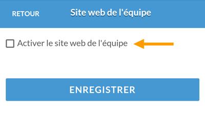Version mobile - Activer le site web de l'équipe