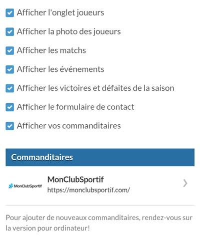 Version mobile - Sélection des contenus du site Internet