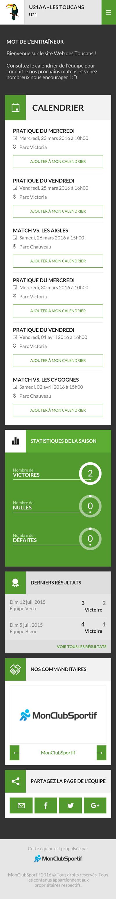 Version mobile - Aperçu du site web de l'équipe