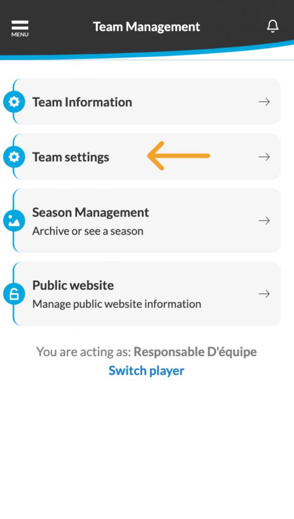 Go to team settings