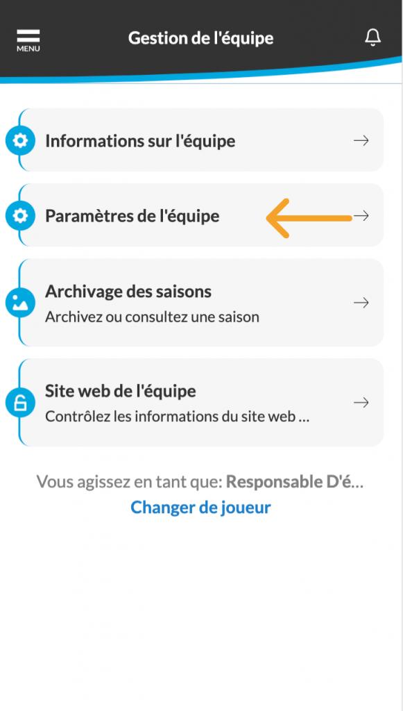 Cliquez sur l'option paramètre de l'équipe pour configurer les paramètres dans l'application