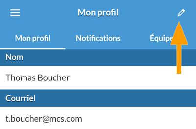 Version mobile - Édition du profil