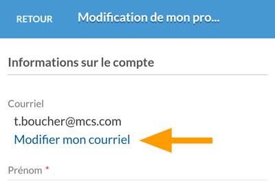 Version mobile - Modification du courriel de connexion