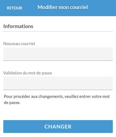 Version mobile - Inscription du nouveau courriel