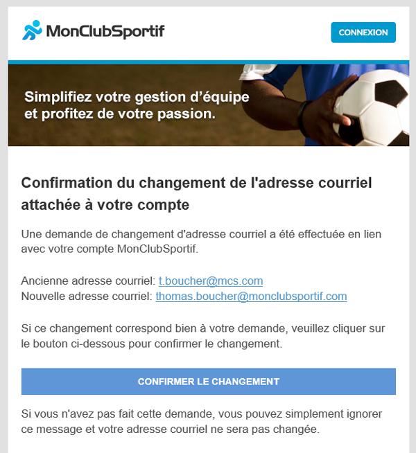 Version mobile - Courriel de confirmation