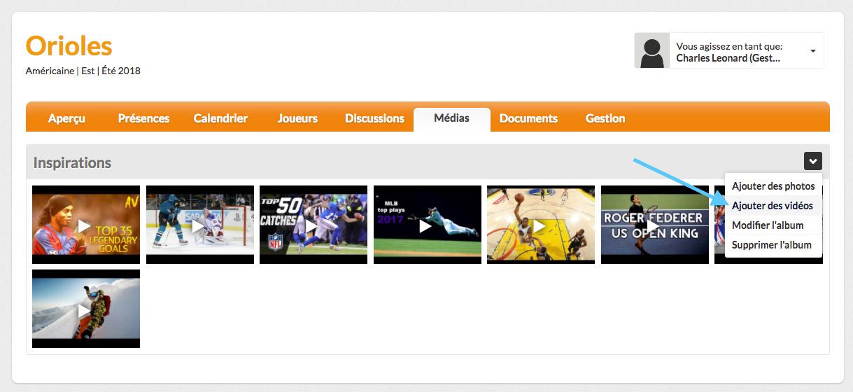equipe sportive ajouter vidéos sport