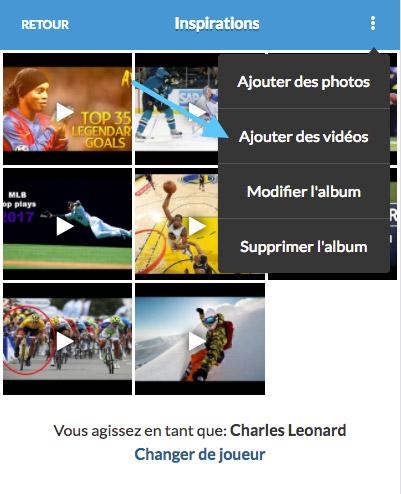 mobile application sport ajout youtube vimeo vidéos