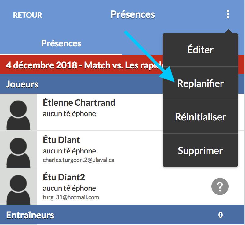 sport equipe app action replanifier