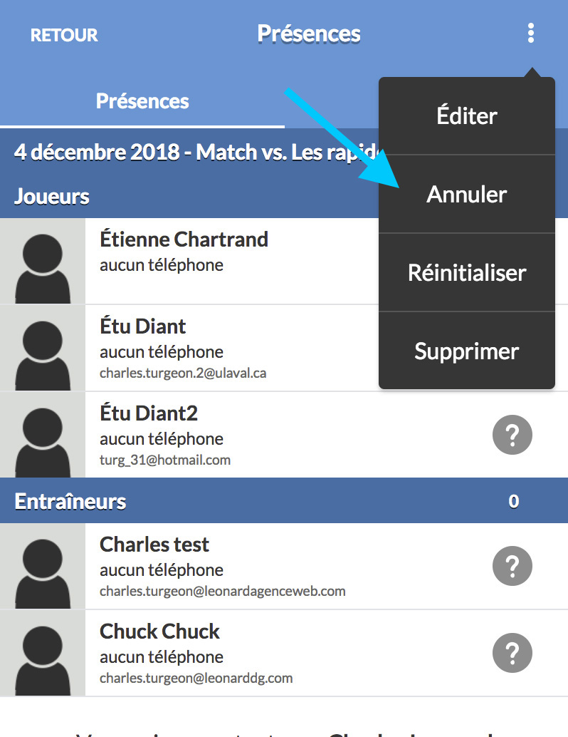 sport equipe app annuler match