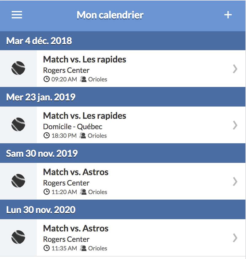 sport equipe calendrier matchs