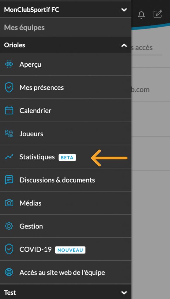 Clique sur l'onglet statistique de l'application