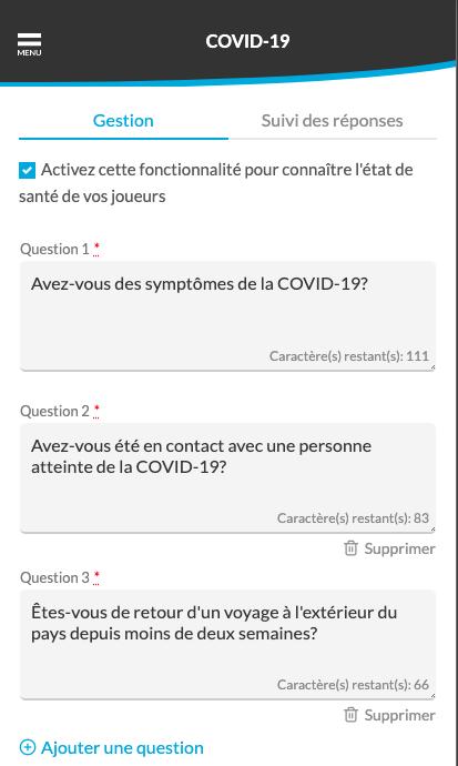 Choisir les questions du module santé - covid-19