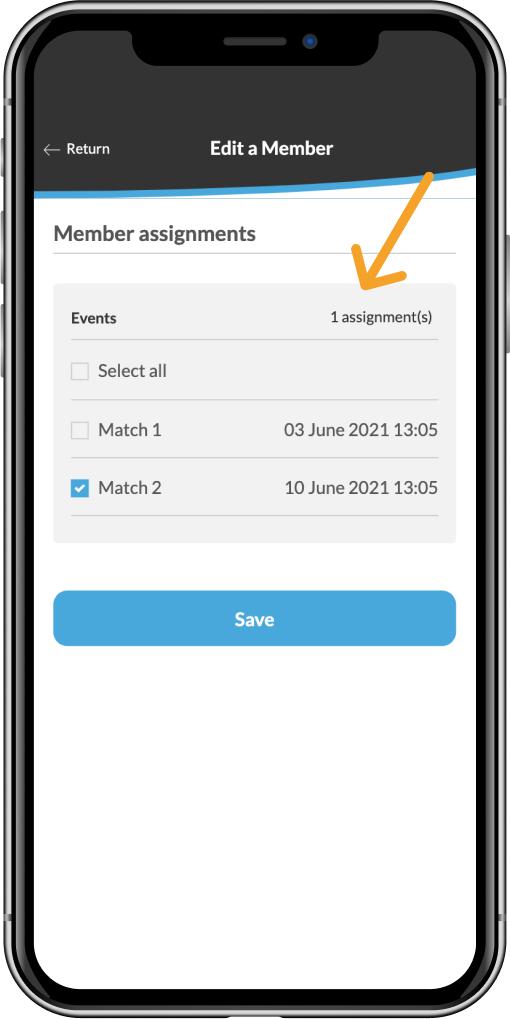 Choisir l'événement dont vous voulez assigner le joueur sur l'application