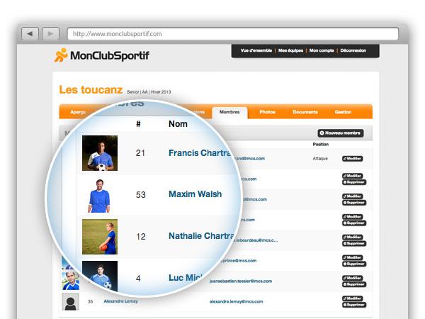 Profil membres équipe téléphone courriel centraliser