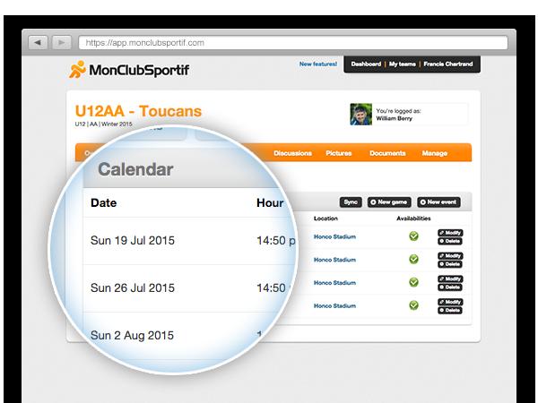 Events Calendar of sport team example