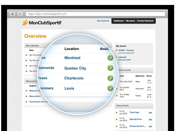 Dashboard multiple sport teams accounts management