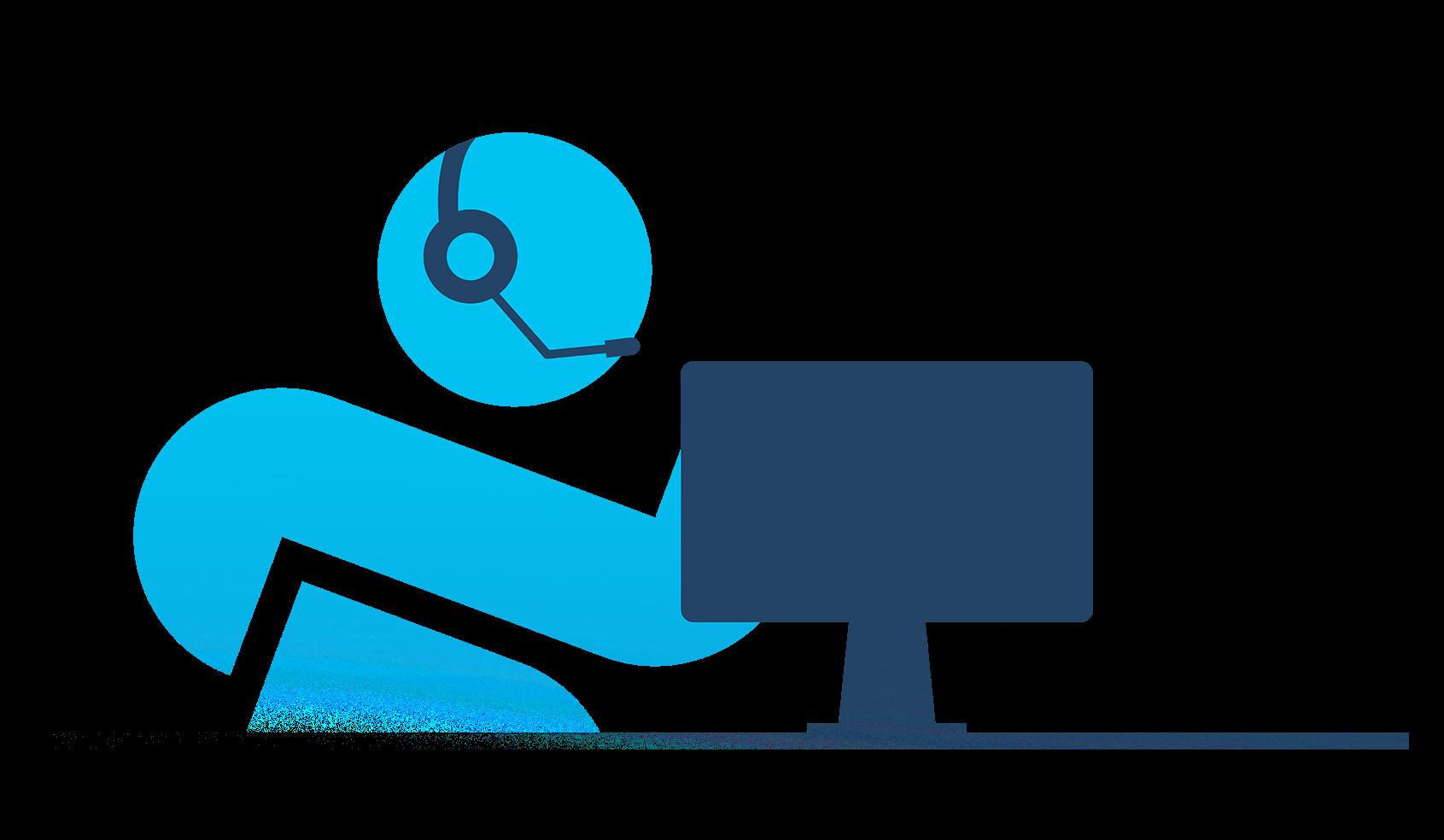 Agent MonClubSportif avec écouteurs devant ordinateur