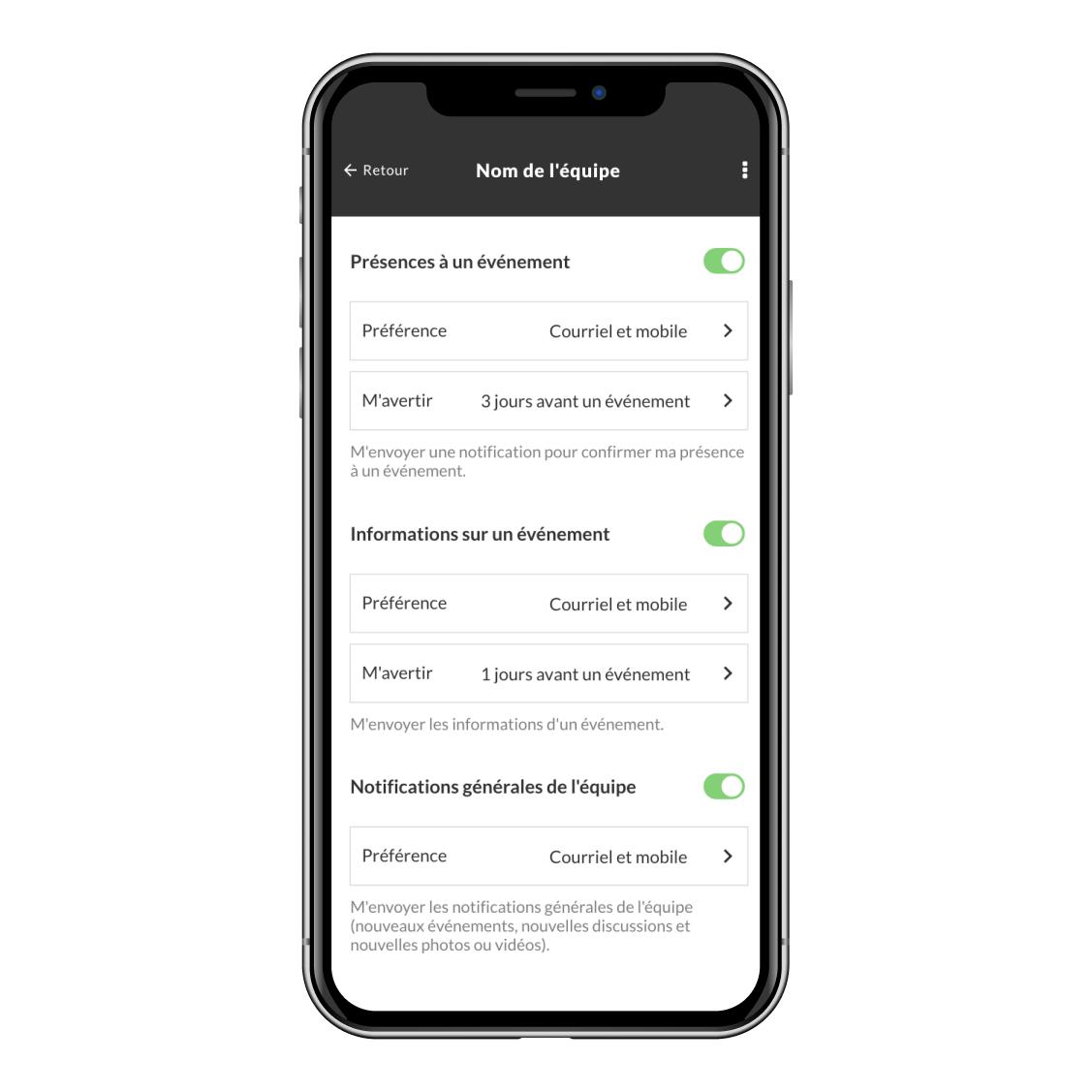 nouveauté paramètre de notifications des présences