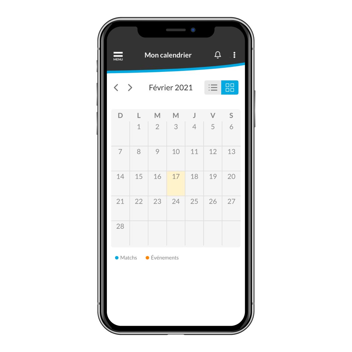 nouveau look du calendrier de l'application
