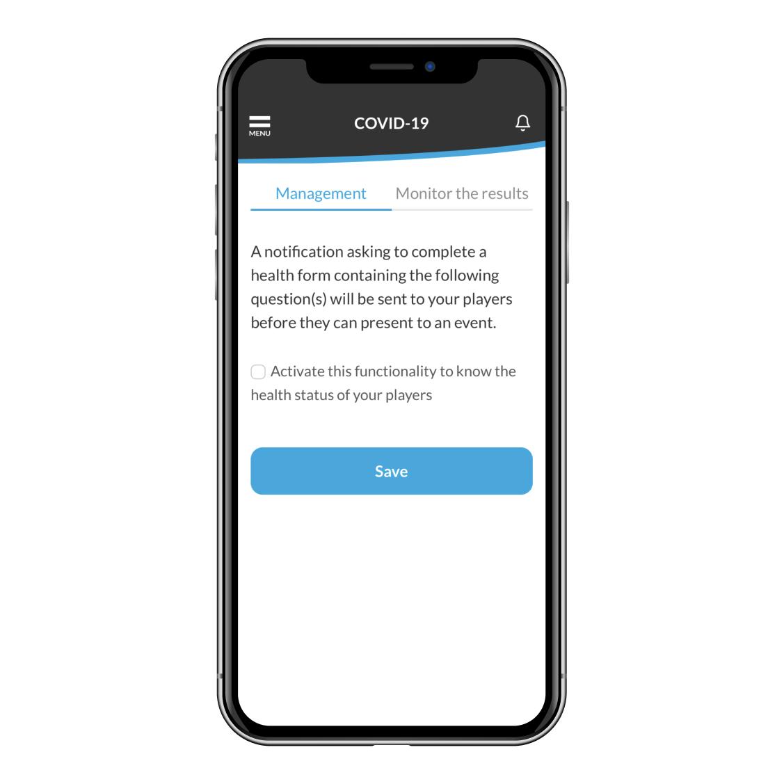 covid-19 health function on app