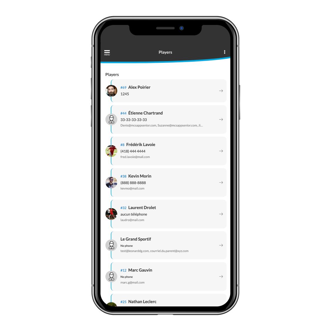 teams players list on a sports team app