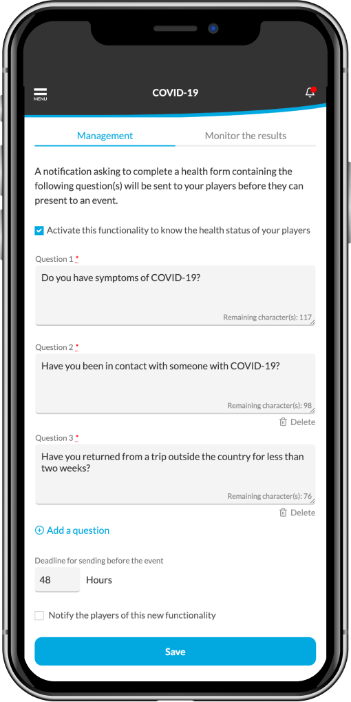 covid features on a sports team app