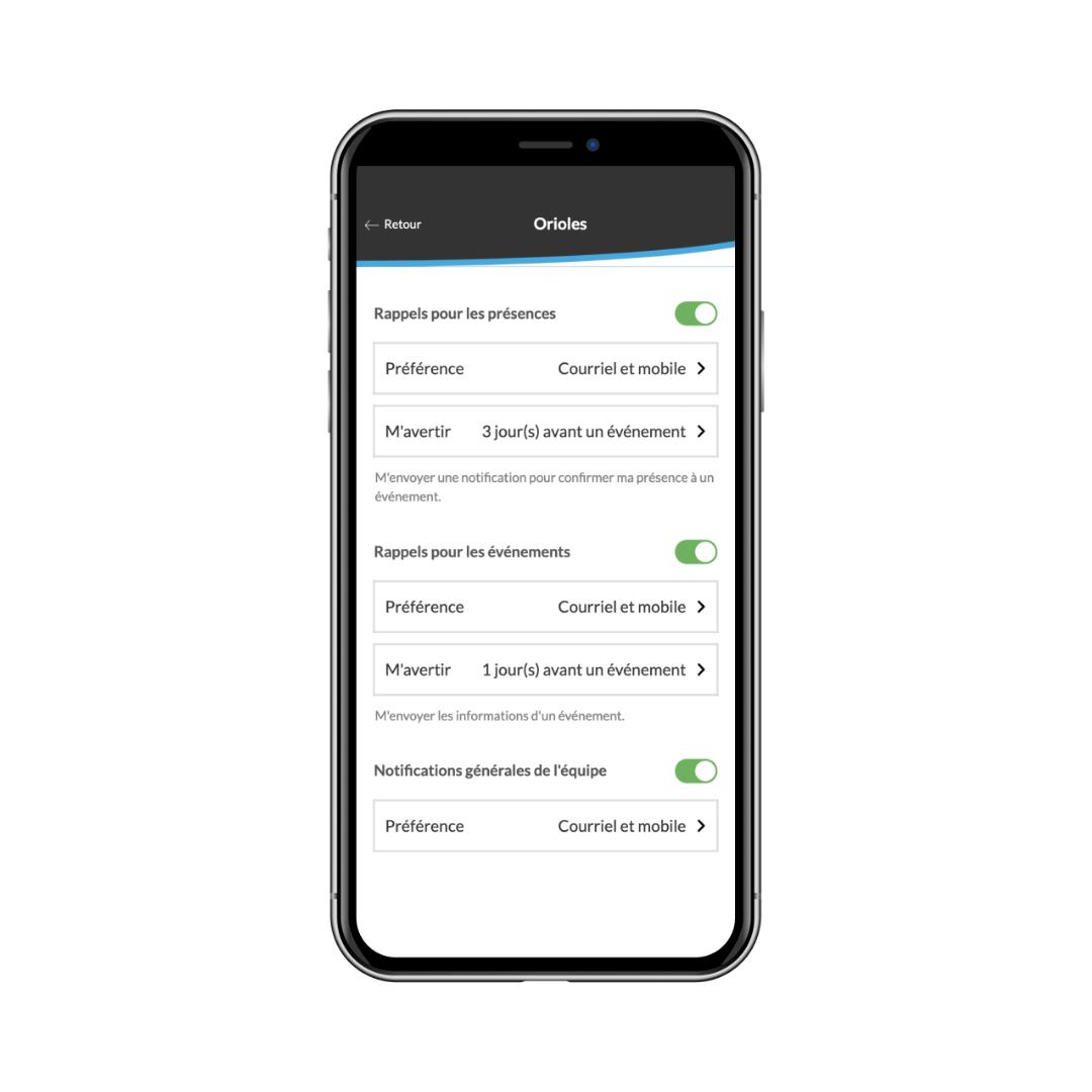 paramètre de notification pour la gestion des présences sur mobile