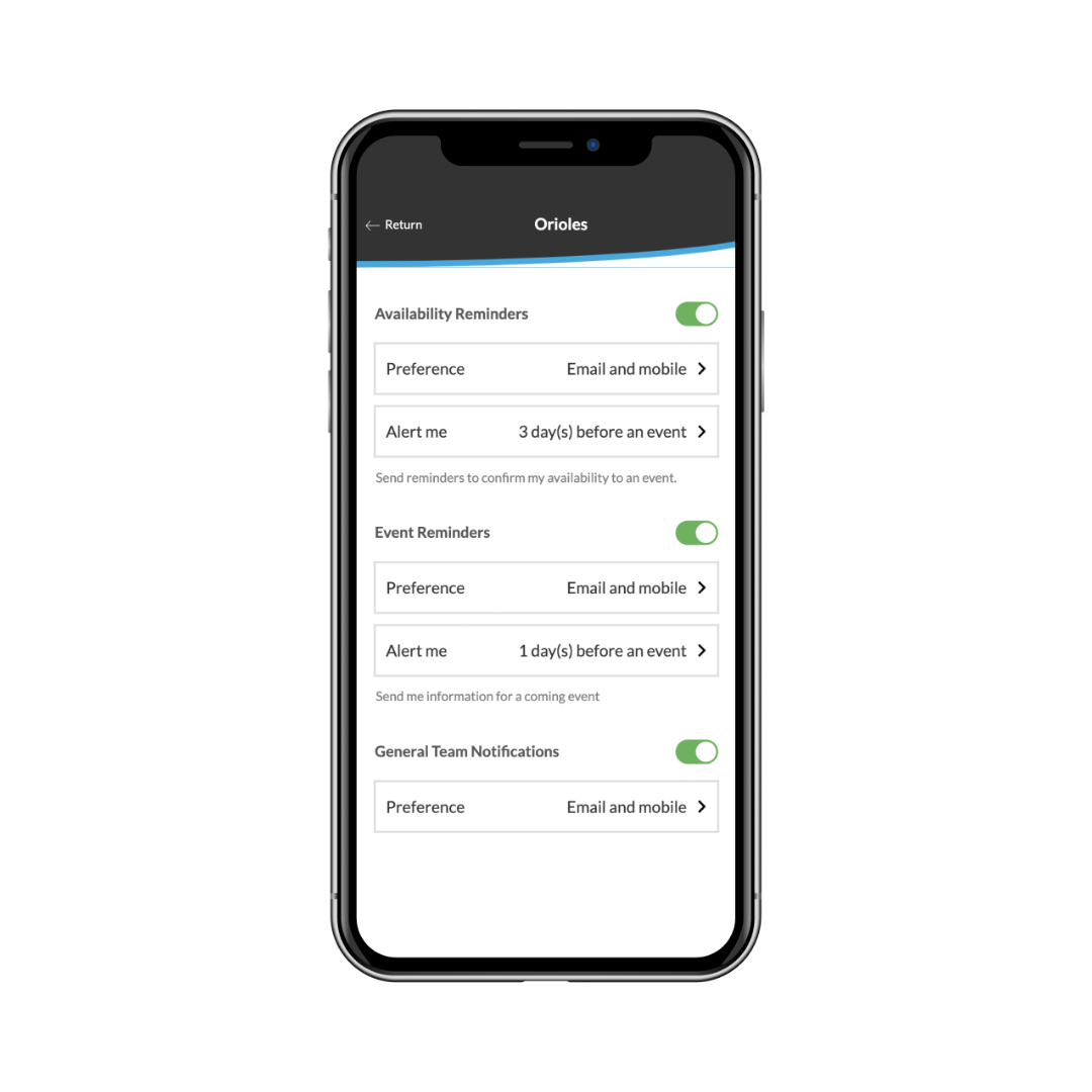 notification parameters for the coaches on the app