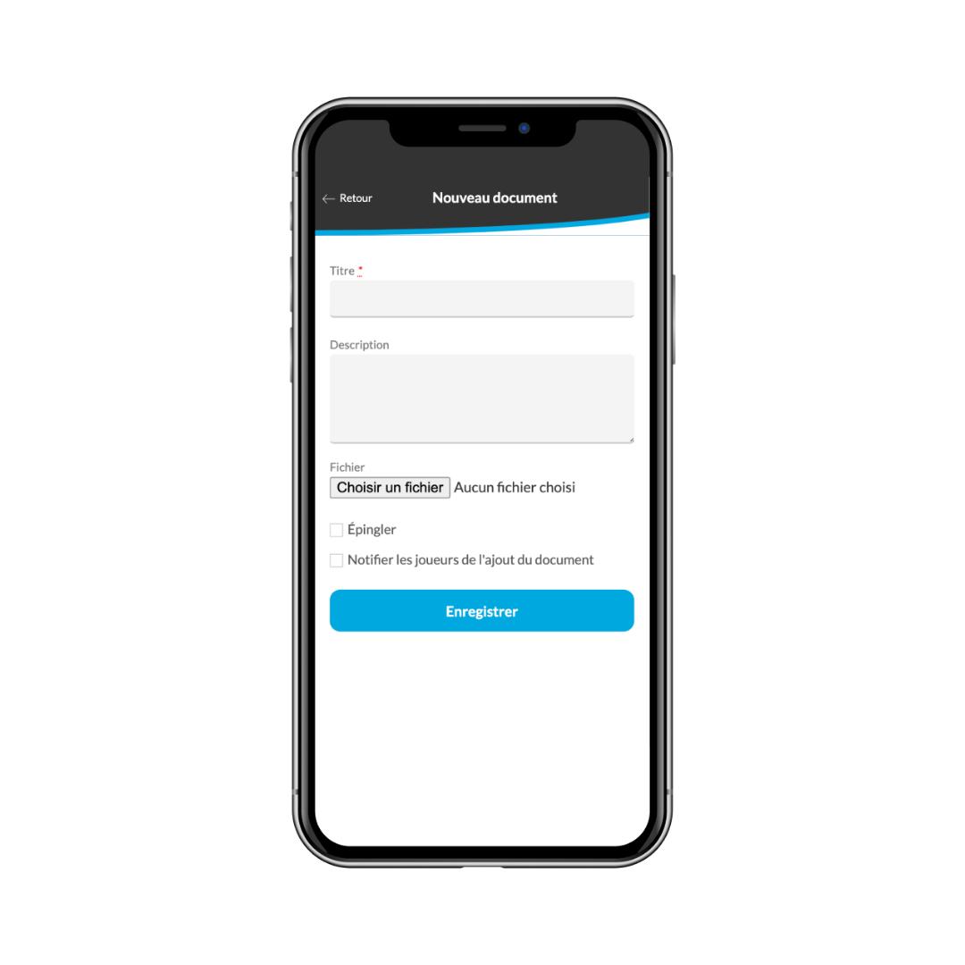 Télécharger des documents pour les envoyer aux joueurs à partir de l'application